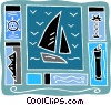 Vector Clipart illustration  of a sailing sail boat, ice bergs