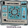sailing compass, tall ship, pipe, steering wheel Vector Clip Art image