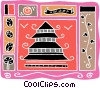 Japanese temple, traditional masks, vines Vector Clipart picture
