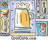 October fest beer stein, tuba music Vector Clipart illustration