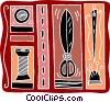 sewing needle, thread, scissors, bobbin Vector Clipart illustration