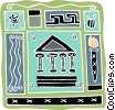 Vector Clipart picture  of a Greece Parthenon Olympic flame