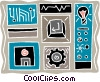 computer floppy disk, enter key, light bulb Vector Clip Art image