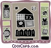 home chair, television, bed, place setting, radio, fence Vector Clip Art image