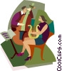 two people playing musical instruments Vector Clip Art picture