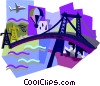 bridge, plane, ship, balloon Vector Clip Art picture