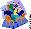 Vector Clip Art graphic  of a people playing musical instruments