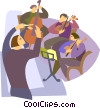 Vector Clip Art graphic  of a playing instruments in an orchestra