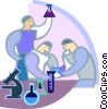 Vector Clip Art picture  of a Researchers performing tests