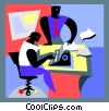 Vector Clip Art picture  of a typing