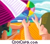 Vector Clip Art picture  of a Family playing with beach ball