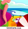 People at the beach Vector Clip Art graphic