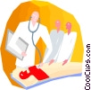 Vector Clip Art picture  of a doctor examining patient
