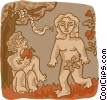 Adam and eve Vector Clip Art graphic