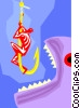 man on hook, fish attacking hook Vector Clipart illustration
