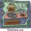 Vector Clip Art picture  of a CD player in decorative design