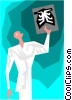 Vector Clip Art graphic  of a doctor looking at ex ray