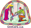 Vector Clipart graphic  of a parents playing with child