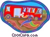 person running for a bus Vector Clipart graphic
