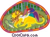 Vector Clipart image  of a veterinarian working on lion
