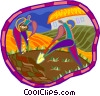Vector Clipart graphic  of a farmer planting seeds