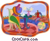 Vector Clipart graphic  of a person having lunch poolside