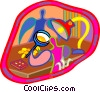Vector Clipart picture  of a person checking out gems
