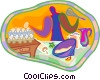 Vector Clipart graphic  of a person baking