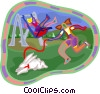 Vector Clipart graphic  of a children playing on swings
