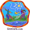 Vector Clip Art graphic  of a people catching a fish