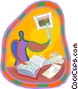 Vector Clipart illustration  of a stamp collecting