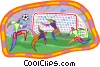 Vector Clip Art graphic  of a people playing soccer