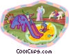 children playing in park Vector Clip Art picture