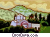 Vector Clip Art picture  of a church on hill side