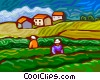 Vector Clip Art graphic  of a people working the fields on