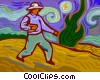 Vector Clip Art image  of a farmer planting seeds