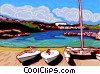 Sail boats on beach Vector Clip Art graphic