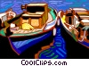 Vector Clip Art graphic  of a Small fishing boats docked