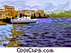 Vector Clip Art image  of a ship docked in harbor