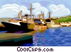 shipyard, ships docked Vector Clip Art picture