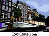 Vector Clip Art graphic  of a sight seeing boat in canal