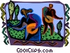 two people picking fruit in baskets Vector Clip Art picture