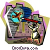 Vector Clipart illustration  of a person drawing a bird