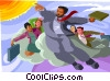 Business metaphor, flying Vector Clipart picture