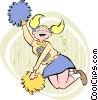 Vector Clipart graphic  of a Cheerleader jumping