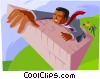 Business metaphor, climbing the wall Vector Clipart illustration