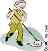 Vector Clip Art graphic  of a man mopping the floor