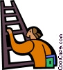 Vector Clip Art image  of a man climbing ladder