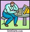 Vector Clip Art image  of a man working on computer