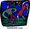 two people dancing at a night club Vector Clipart illustration